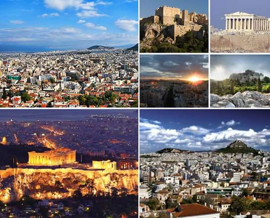 Collage Athens with Acropolis by night