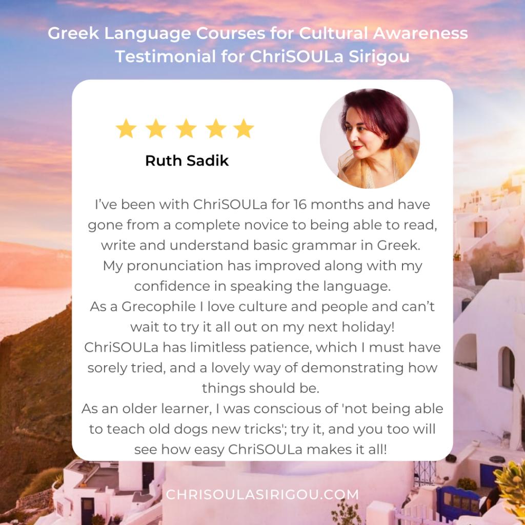 Greek Testimonial Ruth Instagram Post